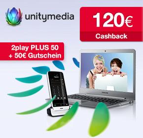 Unitymedia mit 120€ Cashback von Shoop.de bei deiner Bestellung der 2play PLUS 50 + 50€ Gutschein