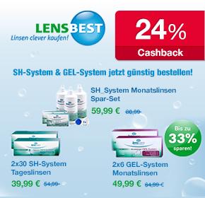 Satte Rabatte bei Lensbest: Bis zu 33% Ersparnis bei SH-System + Gel-System Linsen + 24% Cashback