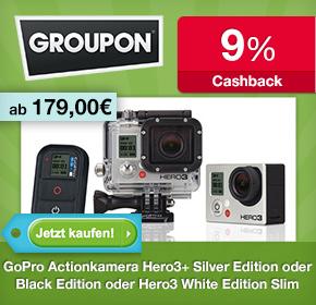 Groupon: GoPro Actionkamera Hero3+ Black Edition für 319€ und White Edition Slim für 179€ + 9% Cashback
