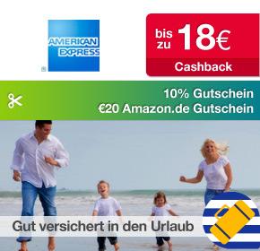 Shoop.de im Reisefieber: American Express Reiseversicherungen mit bis zu 18€ Cashback + 20€ Amazon.de Gutschein* + 10% Gutschein