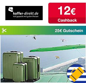 Shoop.de im Reisefieber: Koffer-Direkt mit 12€ Cashback und 25€ Gutschein