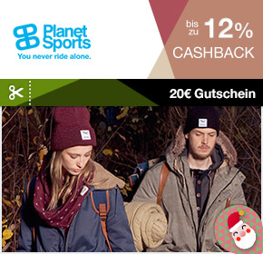 20. Adventstürchen: Planet Sports mit bis zu 12% Cashback und 20€ Gutschein (100€ MBW)