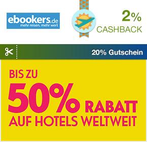Shoop.de im Reisefieber: ebookers mit 20% Gutschein + 2% Cashback auf Hotelbuchungen