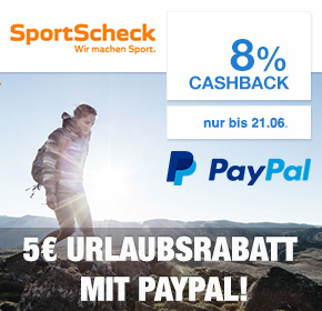SportScheck: 8% Cashback + 5€PayPal Gutschein