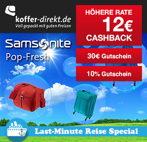 Shoop.de im Reisefieber: Koffer-Direkt mit 12€Cashback + 30€ Gutschein und 10% Gutschein