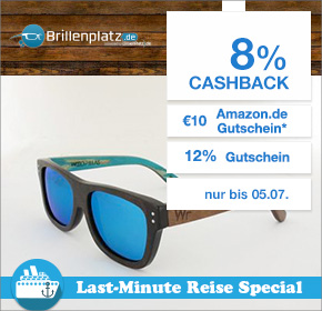 Shoop.de im Reisefieber: Brillenplatz mit 12% Gutschein auf das gesamte Sortiment + 10€ Amazon.de Gutschein* + 8% Cashback