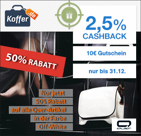 Koffer.de: 50% Rabatt + 10€ Gutschein + 2,5% Cashback