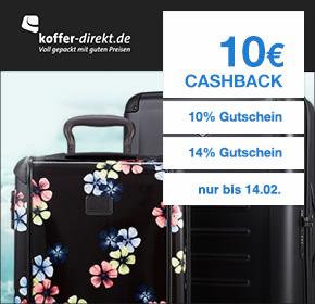 Koffer-Direkt: 10€ Cashback + 14% Gutschein