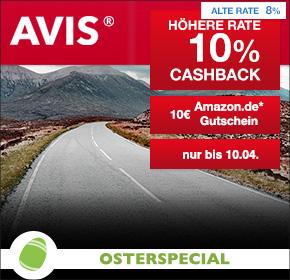 Avis: 10% Cashback + 10€ Amazon.de Gutschein* [Osterspecial]