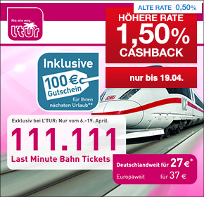 Exklsuiv bei l´tur: 111.111 Last Minute Bahn Tickets! Deutschlandweit für 27€ und Europaweit für 37€ fahren + 1,5% Cashback