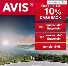 Avis Autovermietung: 10% Cashback + 10€ Amazon.de Gutschein* und 20€ Amazon.de Gutschein*