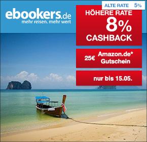 ebookers: 8% Cashback + 25€ Amazon.de Gutschein*