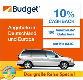 Budget mit 10% Cashback auf jede Mietwagenbuchung + 15€ Amazon.de Gutschein* [Shoop.de Reisespecial]