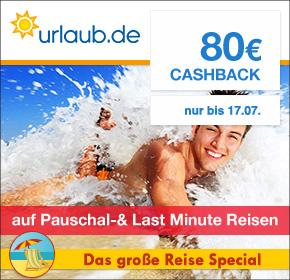 Urlaub.de: 20€ Cashback auf Hotelbuchung & 80€ Cashback auf  LastMinute- und Pauschalreisen [Shoop.de Reisespecial]