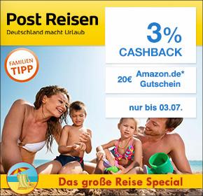Post Reisen mit 3% Cashback und 20€ Amazon.de Gutschein* [Shoop.de Reisespecial]