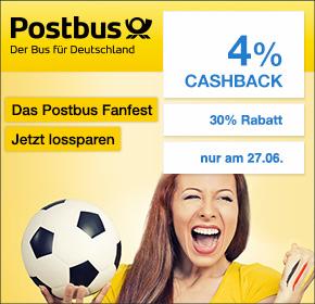 Postbus Fanfest : 30% Rabatt auf alle Fahren + 4% Cashback