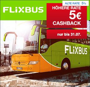 Flixbus: 5€ Cashback auf jede Buchung ab 17,99€ Mindestbuchungswert