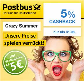 Postbus: 5% Cashback + Tickets auf allen Strecken ab 5€