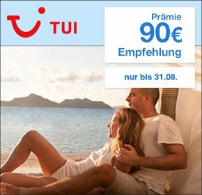 TUI.com: 90€ Prämie für deine Empfehlung einer Pauschal-/Last-Minute-Reise