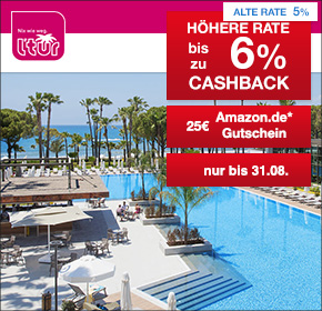 L'TUR: jetzt Pauschalreise buchen und 4% Cashback + 25€ Amazon.de Gutschein* erhalten