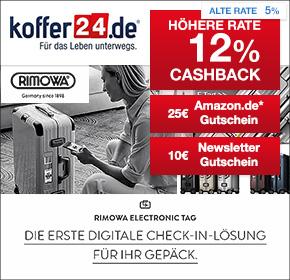 Koffer24: 12% Cashback + 25€ Amazon.de Gutschein