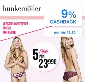 Hunkemöller: 5 Slips für 23,99€ + 9% Cashback + gratis Versand [ Nur heute!]