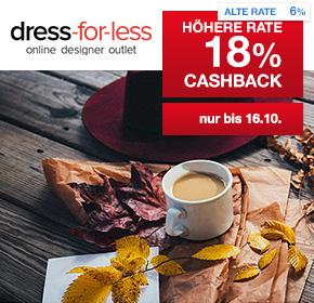 dress-for-less: 18% Cashback auf valide Bestellungen