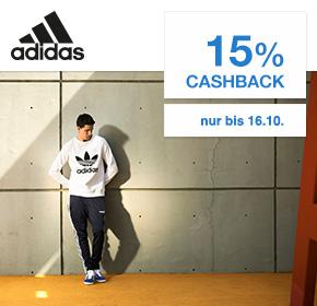 Adidas: 15% Cashback auf valide Bestellungen