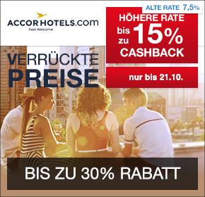 Verrückte Preise bei Accor: AccorHotels schenkt dir das Frühstück + bis zu 15% Cashback + bis zu 30% Rabatt