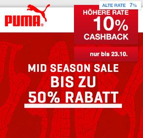 PUMA: 10% Cashback + Mid Season Sale