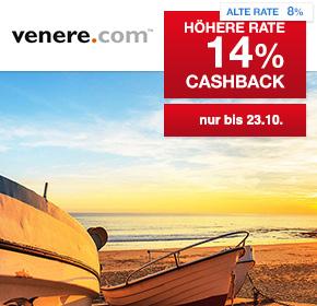 venere.com: 14% Cashback auf deine Hotelbuchung
