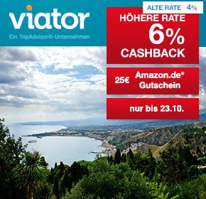 Viator – ein TripAdvisor-Unternehmen: 25€ Amazon.de Gutschein* ab 100€ Mindestbuchungswert + 6% Cashback