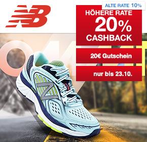 New Balance: 20% Cashback + 20€ Gutschein ab 80€ Bestellwert