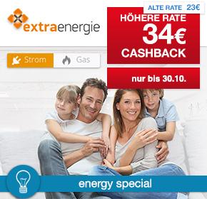 extraenergie: 34€ Cashback für jeden validen Strom- oder Gasvertrag [Energy Special]
