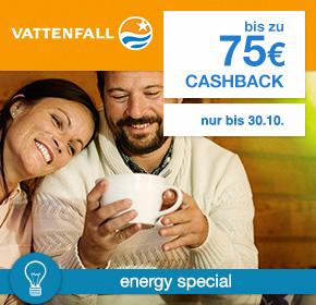 Vattenfall: Bis zu 75€ Cashback [Energy Special]
