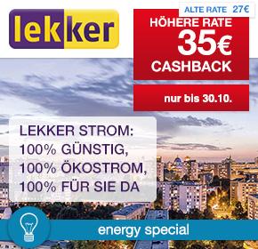 lekker Energie: 35€ Cashback für Strom- oder Gasvertrag [Energy Special]