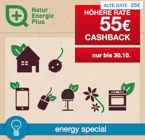 NaturEnergiePlus: 55€ Cashback für Deinen Stromvertrag [Energy Special]