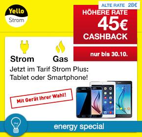 Yello Strom: 45€ Cashback für Deinen Gas- oder Stromvertrag [Energy Special]