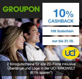 Groupon: 2 Kinogutscheine für alle 2D-Filme inklusive Überlänge und Loge in der UCI KINOWELT für 9,90€ + 10% Cashback