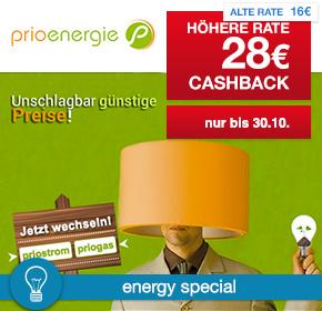 Prioenergie: 28€ Cashback für Strom- und Gasvertrag [Energy Special]