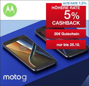 Motorola: 5% Cashback + 10€ Gutschein auf alles + 10€ Gutschein auf Moto G Geräte