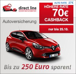 Direct Line: 70€ Cashback für den Abschluss einer KFZ-Versicherung