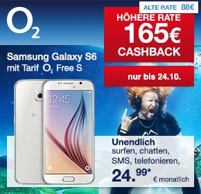 O2: Der neue Free S Tarif – unendlich surfen, SMS und telefonieren inkl. Samsung Galaxy S6 für effektiv 24,95€ monatlich!
