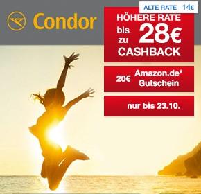 Condor: Bis zu 28€ Cashback + 20€ Amazon.de Gutschein* auf Deine Flugbuchung