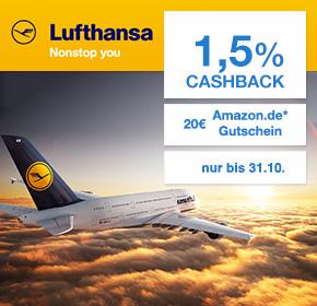 Lufthansa: 20€ Amazon.de Gutschein* + 1,5% Cashback auf deine Flugbuchung [exklusiv bei Shoop.de]