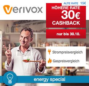 Verivox: 30€ Cashback auf Strom- oder Gasvertrag