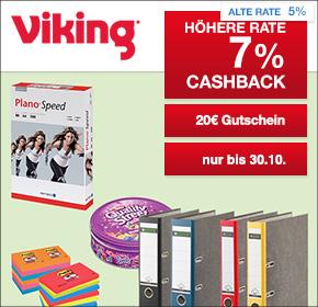 Viking: 7% Cashback + 20€ Gutschein