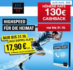 NetCologne Doppel-Flat 100.000 mit 130€ Cashback + 25€ Startguthaben + 17,90€ mtl. in den ersten 12 Monaten