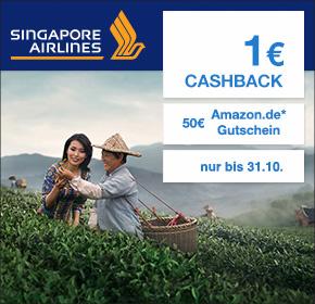 Singapore Airlines: 50€ Amazon.de Gutschein* + 1€ Cashback
