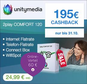 Unitymedia: 195€ Cashback auf 2Play Comfort 120 Tarif – nur 16,86€ monatlich!